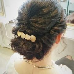 編み込み ヘアアレンジ 結婚式 ミディアム ヘアスタイルや髪型の写真・画像