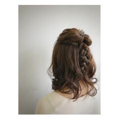 ナチュラル ミディアム 結婚式 簡単ヘアアレンジ ヘアスタイルや髪型の写真・画像