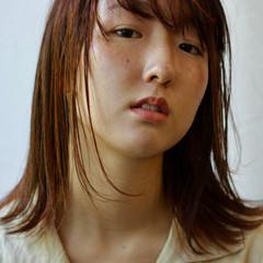 切りっぱなしボブ オレンジカラー ナチュラル オレンジブラウン ヘアスタイルや髪型の写真・画像