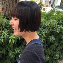 モード 黒髪 切りっぱなしボブ ミニボブ ヘアスタイルや髪型の写真・画像