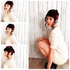 ヘアアレンジ ミディアム フェミニン 卵型 ヘアスタイルや髪型の写真・画像