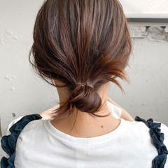 ナチュラル ベージュカラー ベージュ 簡単ヘアアレンジ ヘアスタイルや髪型の写真・画像