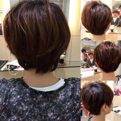 ショート ガーリー マッシュ ボブ ヘアスタイルや髪型の写真・画像