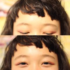 シースルーバング オン眉 ストレート 前髪パーマ ヘアスタイルや髪型の写真・画像
