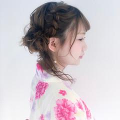 お祭り 花火大会 簡単ヘアアレンジ セミロング ヘアスタイルや髪型の写真・画像