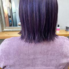 ラベンダーアッシュ 切りっぱなしボブ ベリーピンク ラベンダーピンク ヘアスタイルや髪型の写真・画像