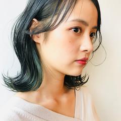 切りっぱなしボブ エメラルドグリーンカラー グリーン インナーグリーン ヘアスタイルや髪型の写真・画像