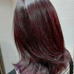 バレイヤージュ ミディアム イルミナカラー ピンク ヘアスタイルや髪型の写真・画像