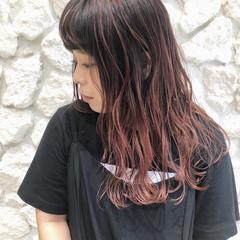 外国人風カラー ピンク バレイヤージュ ハイライト ヘアスタイルや髪型の写真・画像