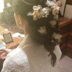セミロング 結婚式 ヘアアレンジ エレガント ヘアスタイルや髪型の写真・画像