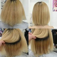 切りっぱなしボブ ナチュラル ボブ 縮毛矯正 ヘアスタイルや髪型の写真・画像