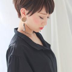 大人かわいい 暗髪 外国人風 ショート ヘアスタイルや髪型の写真・画像