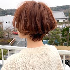 ナチュラル ショートボブ お洒落 秋冬スタイル ヘアスタイルや髪型の写真・画像