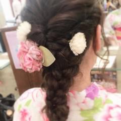 セミロング 夏 ガーリー お祭り ヘアスタイルや髪型の写真・画像
