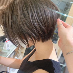 グレージュ ショートヘア ショート ショートボブ ヘアスタイルや髪型の写真・画像