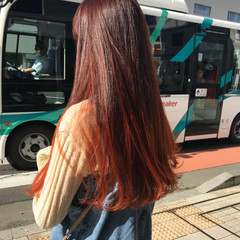 ロング ブリーチ オレンジ モード ヘアスタイルや髪型の写真・画像