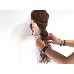 ロング 三つ編み 外国人風 簡単ヘアアレンジ ヘアスタイルや髪型の写真・画像