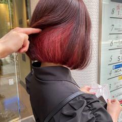 ピンクラベンダー ボブ インナーカラー ピンク ヘアスタイルや髪型の写真・画像