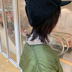 ニュアンスウルフ ヘアアレンジ ミディアム アンニュイほつれヘア ヘアスタイルや髪型の写真・画像