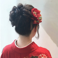 ヘアアレンジ 黒髪 和装 ロング ヘアスタイルや髪型の写真・画像