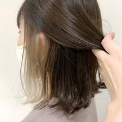 切りっぱなしボブ ボブ ストリート インナーカラー ヘアスタイルや髪型の写真・画像