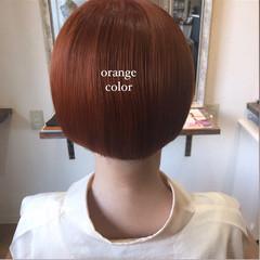 アプリコットオレンジ オレンジ ミニボブ ボブ ヘアスタイルや髪型の写真・画像