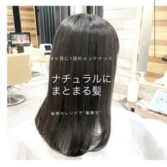 セミロング グレージュ ストレート ナチュラル ヘアスタイルや髪型の写真・画像