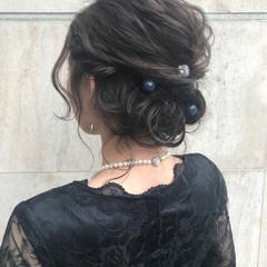 ヘアアレンジ ミディアム 結婚式 暗髪 ヘアスタイルや髪型の写真・画像