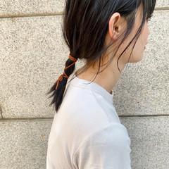 ヘアアレンジ セミロング ナチュラル 紐アレンジ ヘアスタイルや髪型の写真・画像