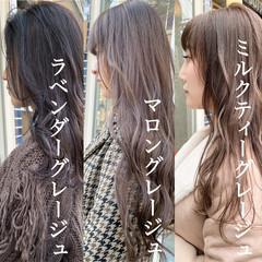 ブリーチなし ミルクティーベージュ ナチュラル ミルクティーグレージュ ヘアスタイルや髪型の写真・画像