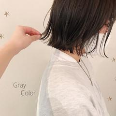 グレー ボブ 切りっぱなしボブ ミニボブ ヘアスタイルや髪型の写真・画像