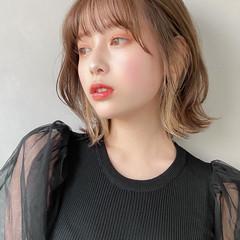 ミディアム インナーカラー 大人かわいい ゆるふわ ヘアスタイルや髪型の写真・画像