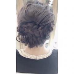 フェミニン 色気 編み込み 結婚式 ヘアスタイルや髪型の写真・画像
