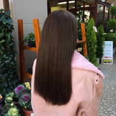透明感 ストレート グレージュ セミロング ヘアスタイルや髪型の写真・画像
