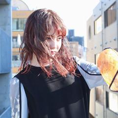 ナチュラル ロング ピンクパープル オレンジ ヘアスタイルや髪型の写真・画像