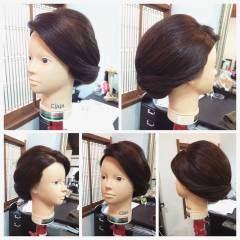 セミロング コンサバ まとめ髪 簡単 ヘアスタイルや髪型の写真・画像