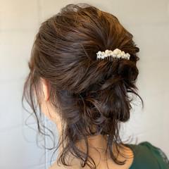アップスタイル ヘアアレンジ 結婚式 編み込みヘア ヘアスタイルや髪型の写真・画像