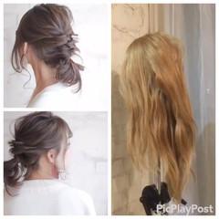 結婚式 セミロング 簡単ヘアアレンジ パーティ ヘアスタイルや髪型の写真・画像