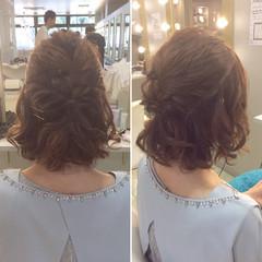 斜め前髪 ハーフアップ ボブ ヘアアレンジ ヘアスタイルや髪型の写真・画像