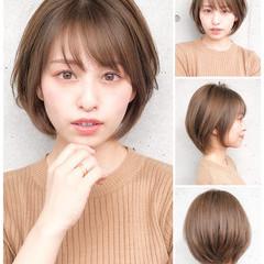 ショートボブ ストレート 縮毛矯正 ナチュラル ヘアスタイルや髪型の写真・画像