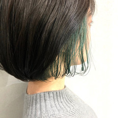 ナチュラル ボブ エメラルドグリーンカラー インナーグリーン ヘアスタイルや髪型の写真・画像