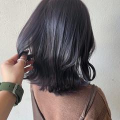 ラベンダーアッシュ ウルフカット ナチュラル コリアンネイビー ヘアスタイルや髪型の写真・画像