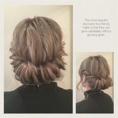ヘアアレンジ ギブソンタック セミロング ヘアスタイルや髪型の写真・画像