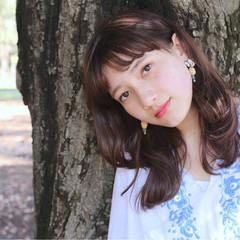 外国人風 前髪あり セミロング ヘアアレンジ ヘアスタイルや髪型の写真・画像