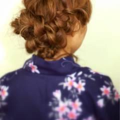 編み込み ふわふわ 夏 ヘアスタイルや髪型の写真・画像