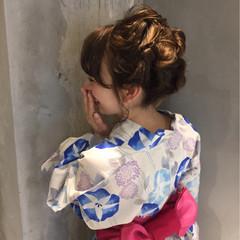 ショート 簡単ヘアアレンジ ミディアム お祭り ヘアスタイルや髪型の写真・画像