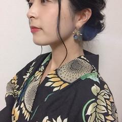 黒髪 浴衣ヘア ヘアアレンジ フェミニン ヘアスタイルや髪型の写真・画像