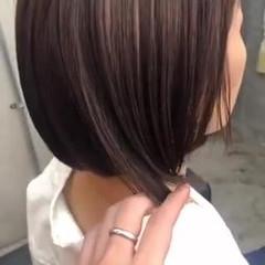 デザインカラー ショート ハイライト ミニボブ ヘアスタイルや髪型の写真・画像