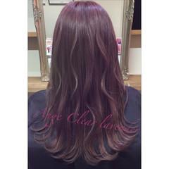 ストリート ピンク セミロング ラベンダーピンク ヘアスタイルや髪型の写真・画像