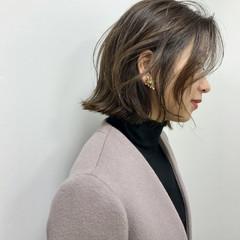 ベージュ ヘアカラー ボブ 大人カジュアル ヘアスタイルや髪型の写真・画像